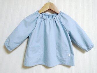 <N様ご予約品>水色の水玉のスモック (70〜80cm)の画像