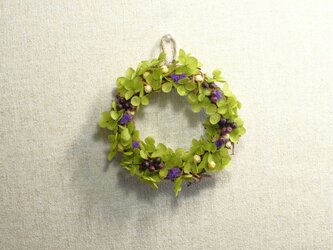 鮮やかな紫がアクセント♡グリーンのミニリース♪の画像
