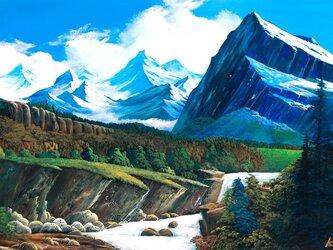 ロッキー雪解けの流れの画像