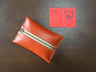 受注生産 栃木レザー ヌメ革 ポケットティッシュケース 茶色の画像