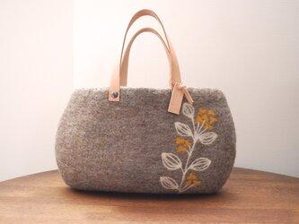 羊毛フェルトバッグ/菜の花の画像