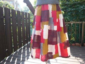 着物リメイク春待ちふんわりギャザースカート銘仙の画像