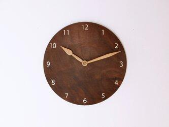 木製 掛け時計 丸 ブラックウォールナット材19の画像