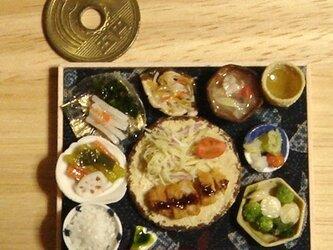 ★とんかつ定食御膳(ふくろう柄・紺)の画像
