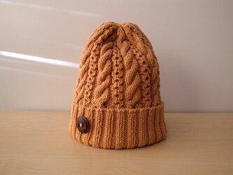 オレンジのコットンウールのニット帽の画像