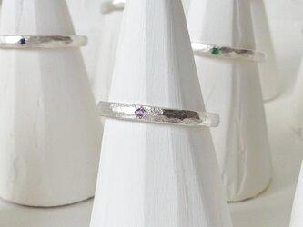 2月誕生石 K18WG Stone texture ringの画像