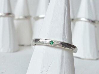5月誕生石 K18WG Stone texture ringの画像