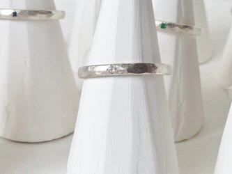 6月誕生石 K18WG Stone texture ringの画像