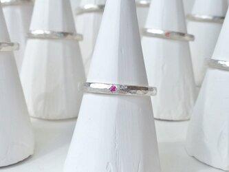 7月誕生石 K18WG Stone texture ringの画像