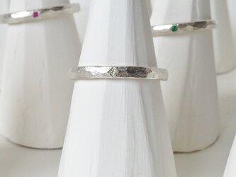 8月誕生石 K18WG Stone texture ringの画像