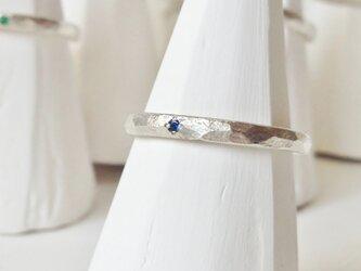 9月誕生石 K18WG Stone texture ringの画像