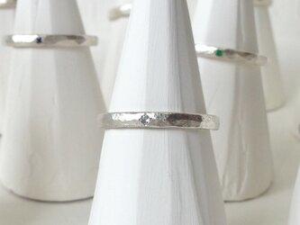 11月誕生石 K18WG Stone texture ringの画像