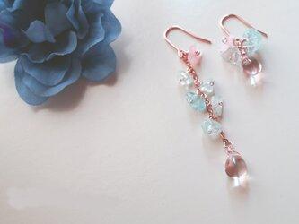 レディー ブルー&ピンク アクアマリン ピアス Lady blue&pink earrings P0032の画像