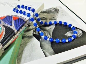めのう、ブルーレース、ブラックルチルのネックレスの画像