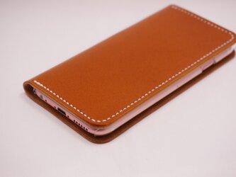 牛革 iPhone6Plus/6sPlusカバー  ヌメ革  レザーケース  手帳型  キャメルカラーの画像