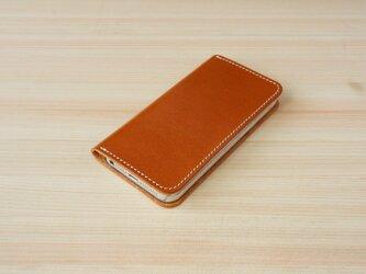牛革 iPhone5/5sカバー  ヌメ革  レザーケース  手帳型  キャメルカラーの画像