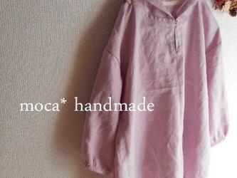 【受注製作/9.21再販売】W55リネンフード付き七分袖ブラウスプルオーバー★ピンクパープルの画像