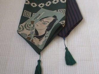 アンティーク長襦袢 歌舞伎が個性的なストール 絹の画像