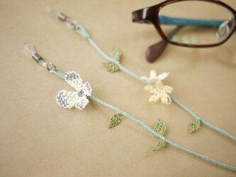イーネオヤの眼鏡ストラップ (紋白蝶・小花オフホワイト)の画像