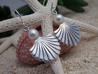 Makaha shell Pearl pierce  貝とパールのピアスの画像