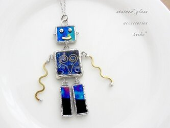 「sold」ステンドグラスのロボットネックレス(36)の画像