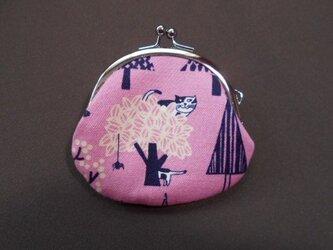 がま口*木登り猫ピンクの画像