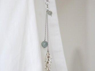 アクアマリンと淡水パールフリンジのネックレスの画像