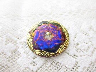 チェコのガラスボタン size L Aurora Purpleの画像