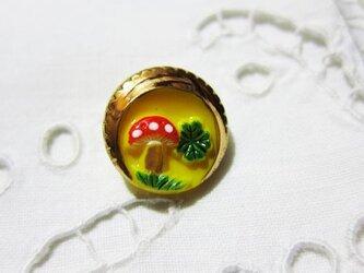 チェコのガラスボタン きのこ,馬蹄,クローバー YELLOWの画像