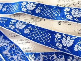 vintage チロルテープ BLUE+WHITE FLOWERの画像