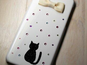 ネコがキュート☆リボン付 iPhone6 ケース カバー☆スワロフスキー デコの画像