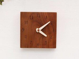 15cm×15cm 掛け・置き時計 ウォールナット【1604】の画像