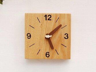 15cm×15cm 掛け・置き時計 タモ【1605】の画像
