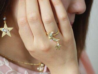【送料無料】キラキラ月リング【フリーサイズ指輪】R-397の画像