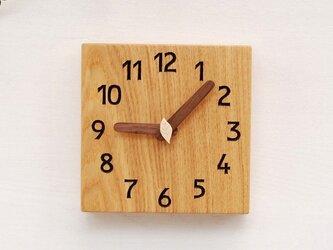15cm×15cm 掛け・置き時計 タモ【1609】の画像