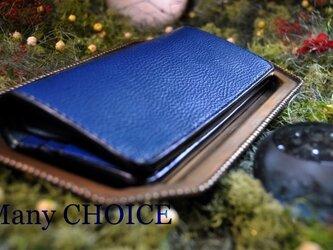 イタリアンオイルレザーアリゾナ・長財布(アルノブルー)の画像