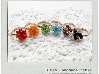 Blush Handmade Zakka:花クリスタルビーズ調節可能な金メッキリングの画像
