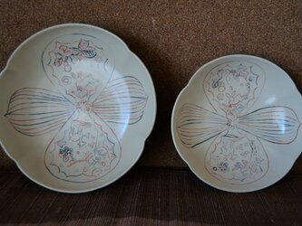 色象嵌木瓜鉢(小)ー鹿と兎の画像