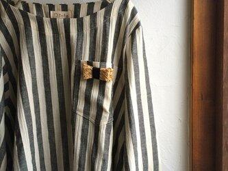 太ストライプ ポケット付き ボートネック プルオーバー ブラックの画像