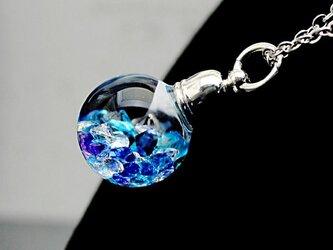 新作Bijou glass Ball Pendant L アイスブルー系パープルカラーの画像