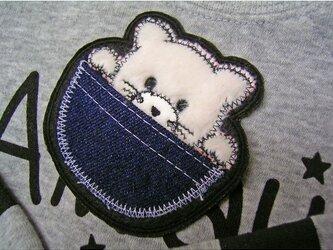 ★ポッケの白猫★アップリケ刺繍ワッペン★アイロン接着★の画像