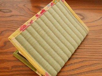 四方縁 畳ブックカバー~ちりめん黄緑~文庫サイズの画像