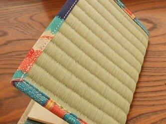 四方縁 畳ブックカバー~ちりめん青~文庫サイズの画像