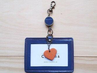 【受注製作】レザーIDケース(コードリール付き) #heart-青エナメルの画像