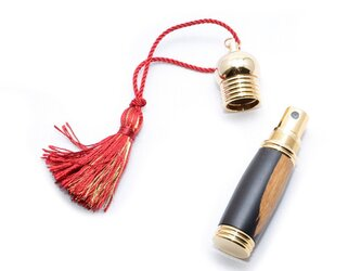 【受注製作】木製の携帯用香水入れ アトマイザー (ブラックウッド;10金のメッキ) PERF-10G-ABの画像