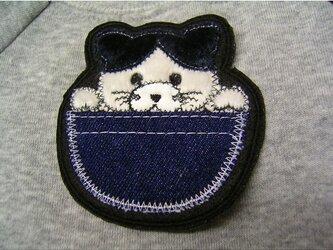 ★ポッケの鉢割猫★アップリケ刺繍ワッペン★アイロン接着★の画像