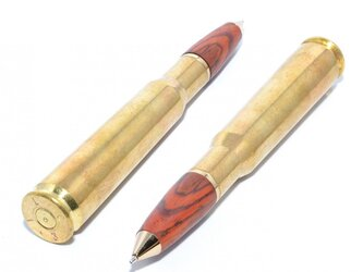 [SALE!] 実弾(薬莢)の木製の回転式ボールペン(ブラウンやブラック系の色の木材;真鍮+24金のメッキ)の画像