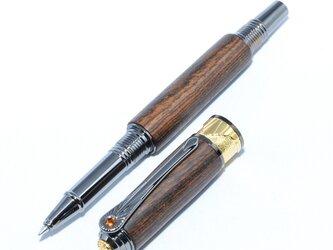 [SALE!] 木製の水性ボールペン・アール・デコ風(ボコテ;チタン・ブラック+22金のメッキ)ADR-BT22G-BOの画像
