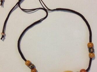 【金具無し・フリーサイズ】イエロージェイドのネックレスの画像