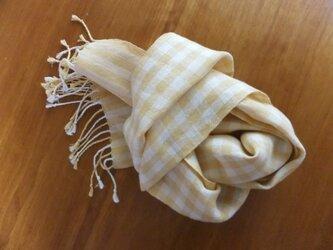 リネンの手織りマフラー チェック1の画像